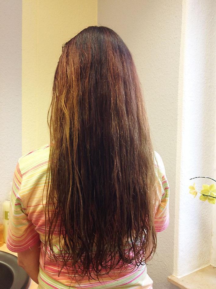 Farbauffrischung der Haarlängen